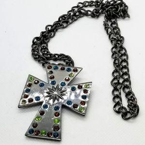 Jewelry - Beautiful statement Shiny Gunmetal  Cross